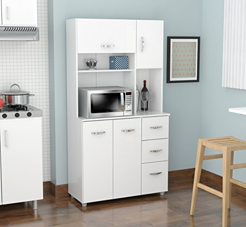 Inval-America-4-Door-Storage-Cabinet-with-Microwave-Cart-Laricina-White-0-0