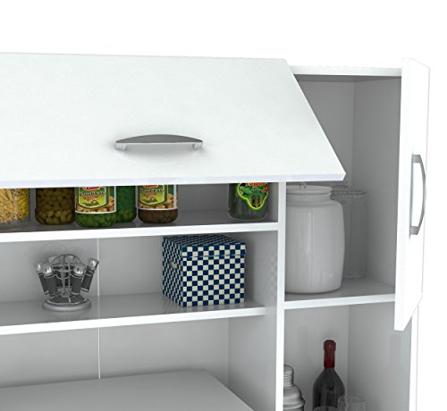 Inval-America-4-Door-Storage-Cabinet-with-Microwave-Cart-Laricina-White-0-1
