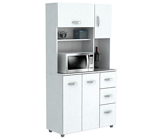 Inval-America-4-Door-Storage-Cabinet-with-Microwave-Cart-Laricina-White-0