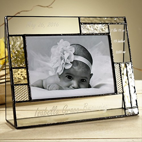 J-Devlin-Pic-392-46H-EP530-Baby-Personalized-4×6-Glass-Picture-Frame-Pale-Yellow-and-Grey-Horizontal-Landscape-Photo-Frame-3-Engraving-Areas-0