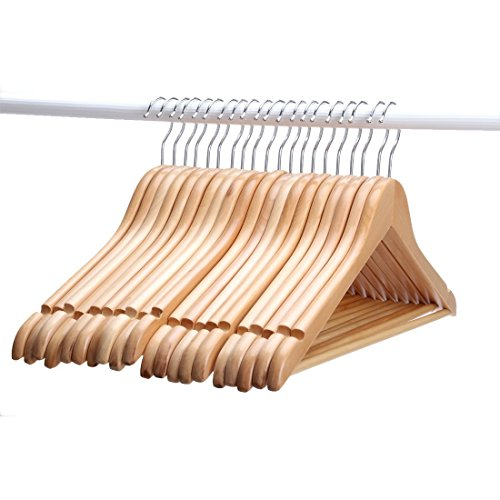 JS-Hanger-Solid-Wooden-Suit-Hangers-Natural-Finish-with-Anti-rust-Hooks-and-Non-slip-Bar-20-Pack-0-0