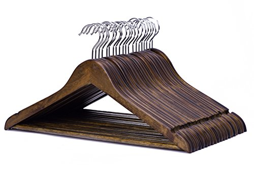 JS-Hanger-Solid-Wooden-Suit-Hangers-Retro-Finish-with-Anti-rust-Hooks-and-Non-slip-Bar-20-Pack-0