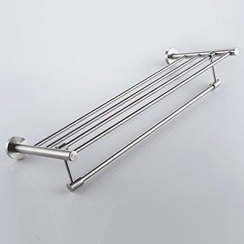 KES-A2115-Bathroom-Minimalist-Towel-Rack-Shelf-with-Foldable-Towel-Bars-Wall-MountedSUS304-Stainless-Steel-0-0