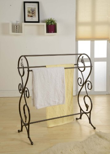 Kings-Brand-Antique-Style-Pewter-Finish-Towel-Rack-Stand-0