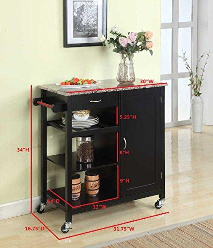 Kings-Brand-Black-Finish-Wood-Marble-Finish-Top-Kitchen-Storage-Cabinet-Cart-0-0