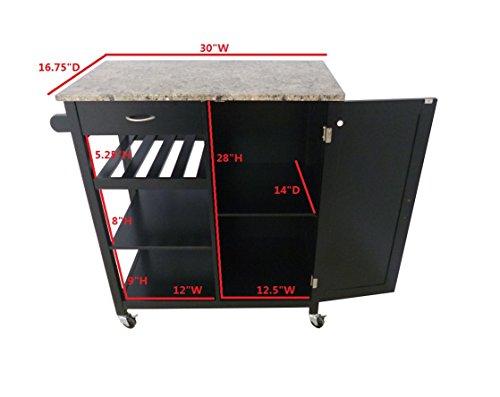 Kings-Brand-Black-Finish-Wood-Marble-Finish-Top-Kitchen-Storage-Cabinet-Cart-0-1