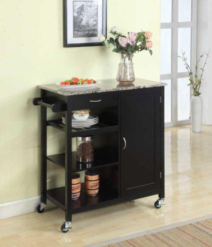 Kings-Brand-Black-Finish-Wood-Marble-Finish-Top-Kitchen-Storage-Cabinet-Cart-0