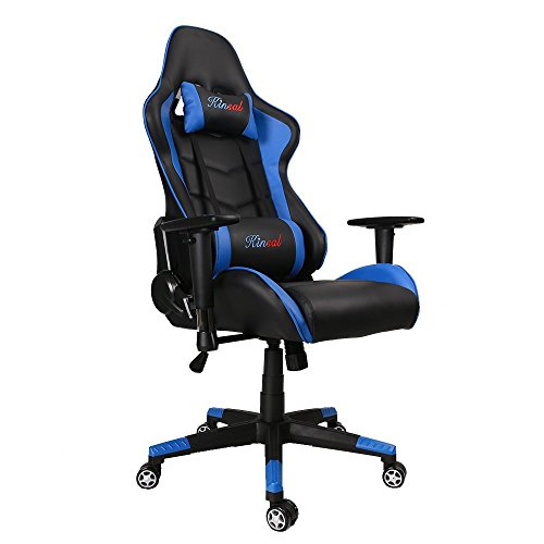 Kinsal-Gaming-Chair-High-back-Computer-Chair-Ergonomic-Design-Racing-Chair-Leather-Premium-Lumbar-Support-Swivel-Executive-Esports-Office-Chair-Including-Headrest-and-Lumbar-Support-Pillow-0
