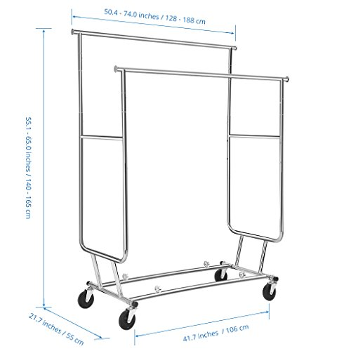 LANGRIA-Collapsible-Double-Rail-Rolling-Garment-Rack-Clothing-Rack-Drying-Rack-Hanging-Rack-Easy-Install-Chrome-Finish-0-0