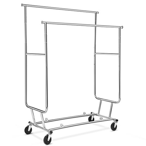 LANGRIA-Collapsible-Double-Rail-Rolling-Garment-Rack-Clothing-Rack-Drying-Rack-Hanging-Rack-Easy-Install-Chrome-Finish-0-1