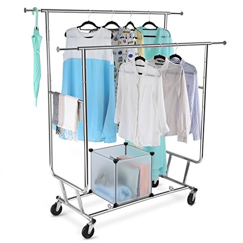 LANGRIA-Collapsible-Double-Rail-Rolling-Garment-Rack-Clothing-Rack-Drying-Rack-Hanging-Rack-Easy-Install-Chrome-Finish-0