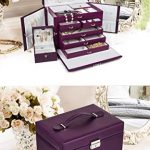 LARGE-PURPLE-LEATHER-JEWELRY-BOX-CASE-STORAGE-ORGANIZER-WITH-TRAVEL-CASE-AND-LOCK-0-0