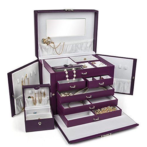 LARGE-PURPLE-LEATHER-JEWELRY-BOX-CASE-STORAGE-ORGANIZER-WITH-TRAVEL-CASE-AND-LOCK-0