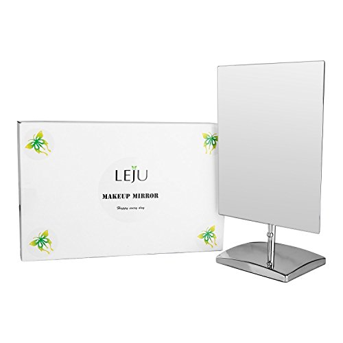 LEJU-Premium-Modern-Rectangle-Vanity-Makeup-Mirror-Portable-Polished-Chrome-Contemporary-Finish-Adjustable-Easy-Positioning-Best-Luxury-Quality-Beauty-Mirror-0-0