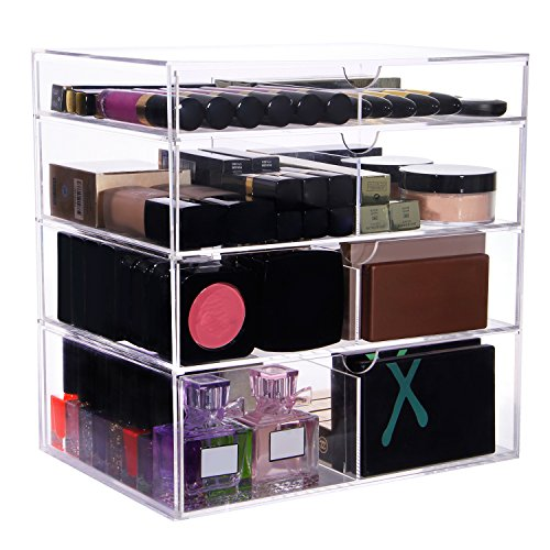 Langforth-Large-Beauty-Cube-4-Tier-Drawers-Acrylic-Cosmetic-Box-Handmade-Vanity-Makeup-Organizer-Storage-118x118x78-0