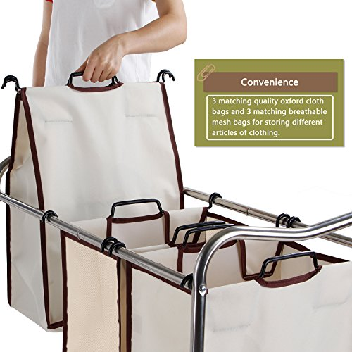 Leapair-Laundry-Sorter-on-Wheels-Stainless-Steel-Frame-Clothes-Storage-Cart-with-6-Removable-Bags-Hamper-0-0