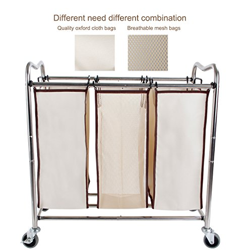 Leapair-Laundry-Sorter-on-Wheels-Stainless-Steel-Frame-Clothes-Storage-Cart-with-6-Removable-Bags-Hamper-0-1