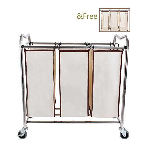 Leapair-Laundry-Sorter-on-Wheels-Stainless-Steel-Frame-Clothes-Storage-Cart-with-6-Removable-Bags-Hamper-0