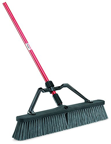 Libman-Commercial-825-Rough-Surface-Heavy-Duty-Push-Broom-64-Length-24-Width-BlackRedGrey-Pack-of-3-0