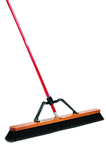 Libman-Commercial-850-Smooth-Surface-Heavy-Duty-Push-Broom-65-Length-36-Width-BlackRed-Pack-of-3-0
