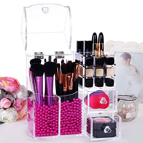 Lifewit-Brush-Holder-Lipstick-Pen-Case-Puff-Drawer-Dustproof-Box-Premium-Quality-5mm-Thick-Makeup-Acrylic-Organizer-Cosmetic-Storage-Display-Lid-With-Free-Rosy-Pearl-0-1