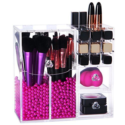 Lifewit-Brush-Holder-Lipstick-Pen-Case-Puff-Drawer-Dustproof-Box-Premium-Quality-5mm-Thick-Makeup-Acrylic-Organizer-Cosmetic-Storage-Display-Lid-With-Free-Rosy-Pearl-0