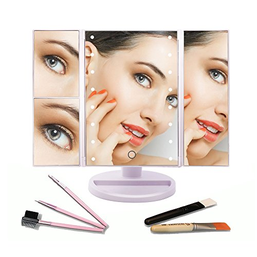 Lighted-Makeup-MirrorCarBoss-Touch-Screen-180-Degree-LED-Table-Makeup-Mirror-Three-Panel-16pcs-USB-Rechargeable-Led-Light-Tabletop-Cosmetic-Mirror-with-USB-Cable2X-and-3X-Magnification-0-0