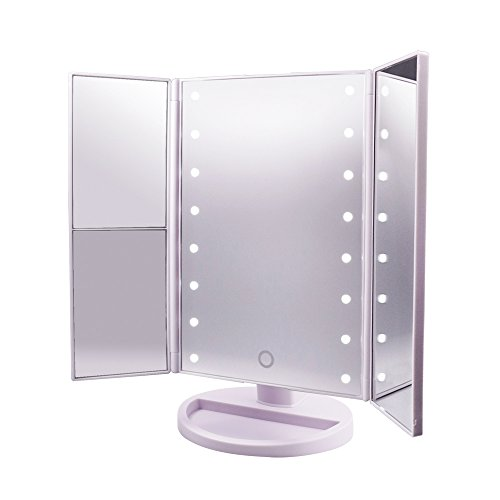 Lighted-Makeup-MirrorCarBoss-Touch-Screen-180-Degree-LED-Table-Makeup-Mirror-Three-Panel-16pcs-USB-Rechargeable-Led-Light-Tabletop-Cosmetic-Mirror-with-USB-Cable2X-and-3X-Magnification-0