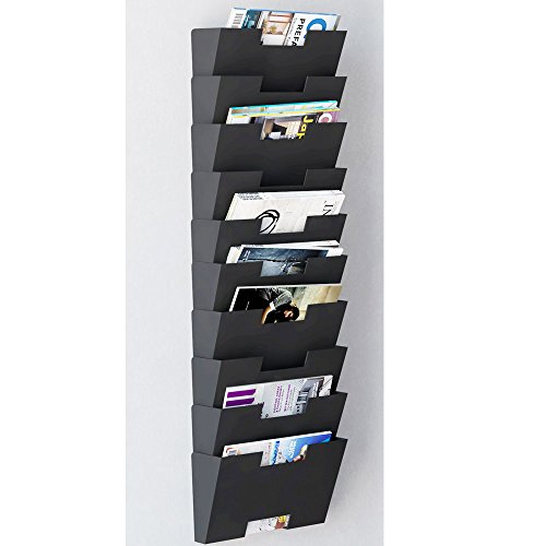 Magazine-Holder-Rack-Black-Steel-Material-Wall-Mount-10-Sectional-Modular-Multiuse-Display-Also-Good-for-Literature-File-and-Folders-0