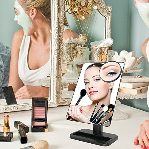 Makeup-MirrorCharminer-20-LEDs-Touch-Screen-Light-Illuminated-Cosmetic-Desktop-Vanity-Mirror-with-Removable-10x-Magnifying-Spot-MirrorsBatteries-Not-Included-0-1