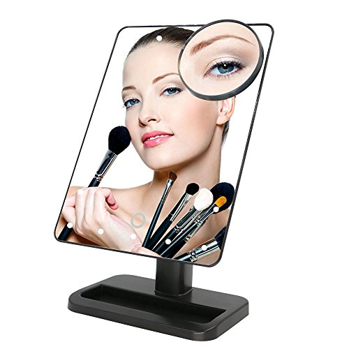 Makeup-MirrorCharminer-20-LEDs-Touch-Screen-Light-Illuminated-Cosmetic-Desktop-Vanity-Mirror-with-Removable-10x-Magnifying-Spot-MirrorsBatteries-Not-Included-0