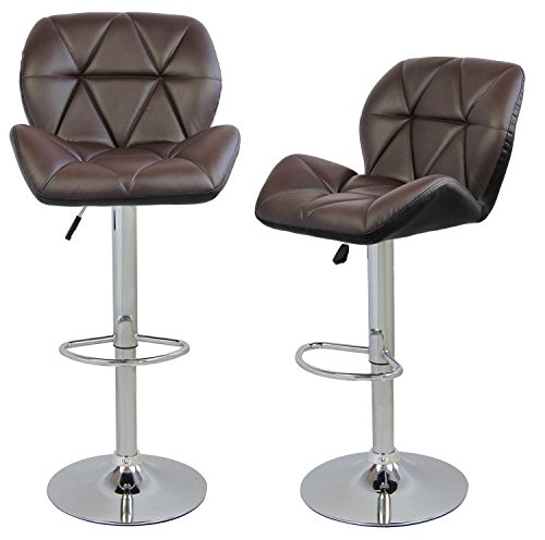 Merax-Faux-Leather-Swivel-Chair-Adjustable-Cafe-Bar-Stools-Brown-Set-of-2-0-0