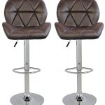 Merax-Faux-Leather-Swivel-Chair-Adjustable-Cafe-Bar-Stools-Brown-Set-of-2-0