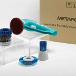 Metapo-Power-Scrubber-PS200-with-2-Rechargeable-Batteries-4-Brushes-and-1-Scouring-Pad-Great-for-Bathroom-Shower-Kitchen-and-BBQ-Grill-0