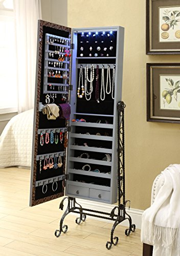 Mirrored-Jewelry-Cabinet-Armoire-Organizer-W-Stand-Tilting-Mirror-Bins-Drawers-Hooks-And-Bars-0-0