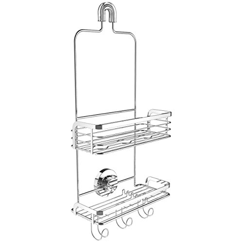 Modern-Hanging-Shower-Caddy-by-Vidan-Home-Solutions-Stainless-Steel-Rust-Proof-2-Tiers-of-Shelves-Includes-Superior-Suction-Cup-0-0