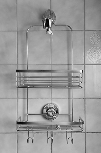 Modern-Hanging-Shower-Caddy-by-Vidan-Home-Solutions-Stainless-Steel-Rust-Proof-2-Tiers-of-Shelves-Includes-Superior-Suction-Cup-0-1