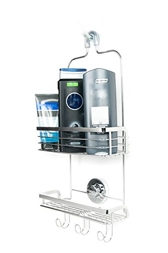 Modern-Hanging-Shower-Caddy-by-Vidan-Home-Solutions-Stainless-Steel-Rust-Proof-2-Tiers-of-Shelves-Includes-Superior-Suction-Cup-0
