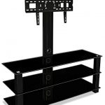 Mount-It-MI-866-TV-Stand-with-Mount-Entertainment-Center-for-Flat-Screen-TVs-Between-32-to-60-Inch-3-Tempered-Glass-Shelves-and-Powder-Coated-Aluminum-Columns-VESA-Compatible-TV-Mount-Black-0-0