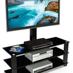 Mount-It-MI-866-TV-Stand-with-Mount-Entertainment-Center-for-Flat-Screen-TVs-Between-32-to-60-Inch-3-Tempered-Glass-Shelves-and-Powder-Coated-Aluminum-Columns-VESA-Compatible-TV-Mount-Black-0