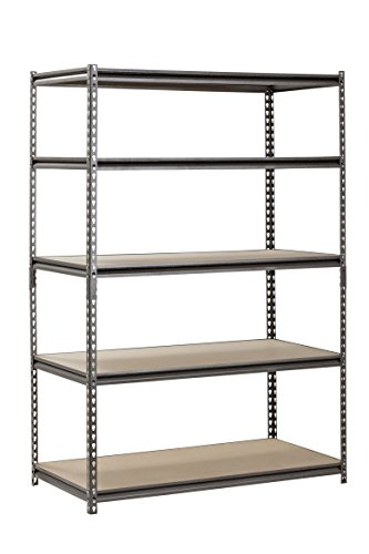 Muscle-Rack-UR482472PB5P-SV-Silver-Vein-Steel-Storage-Rack-5-Adjustable-Shelves-4000-lb-Capacity-72-Height-x-48-Width-x-24-Depth-0