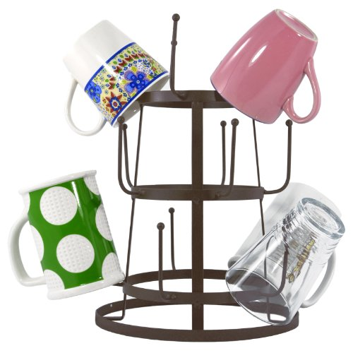 MyGift-Vintage-Rustic-Iron-Mug-Cup-Glass-Bottle-Organizer-Tree-Drying-Rack-Stand-0-1