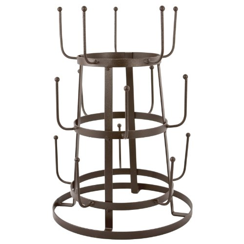 MyGift-Vintage-Rustic-Iron-Mug-Cup-Glass-Bottle-Organizer-Tree-Drying-Rack-Stand-0