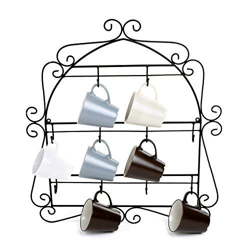 MyGift-Wall-Mounted-Mug-Rack-10-Hook-Scrollwork-Framed-Kitchen-Organizer-Black-0-0