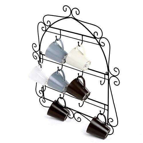 MyGift-Wall-Mounted-Mug-Rack-10-Hook-Scrollwork-Framed-Kitchen-Organizer-Black-0-1