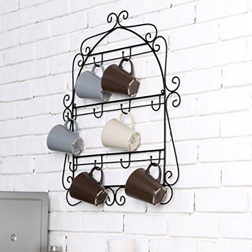 MyGift-Wall-Mounted-Mug-Rack-10-Hook-Scrollwork-Framed-Kitchen-Organizer-Black-0