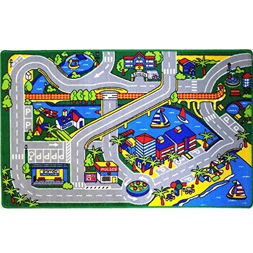 Mybecca-Kids-Rug-Harbor-Map-in-Grey-Children-Area-Rug-for-Playroom-Nursery-Non-Skid-Gel-Backing-3-x-5-0