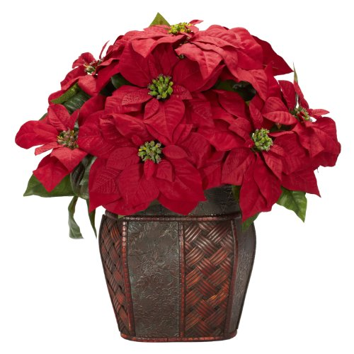 Nearly-Natural-1264-Poinsettia-with-Decorative-Vase-Silk-Flower-Arrangement-Red-0