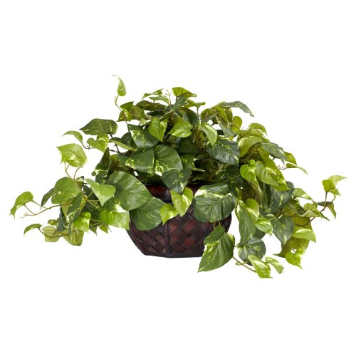 Nearly-Natural-6681-Pothos-with-Vase-Decorative-Silk-Plant-Green-0