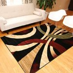 New-City-Brand-New-Contemporary-Black-Brown-and-Beige-Modern-Wavy-Circles-Area-Rug-0-0